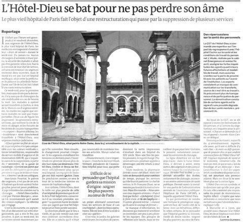 2011 10 30 LE MONDE l hôtel dieu se bat pour ne pas perdre son âme